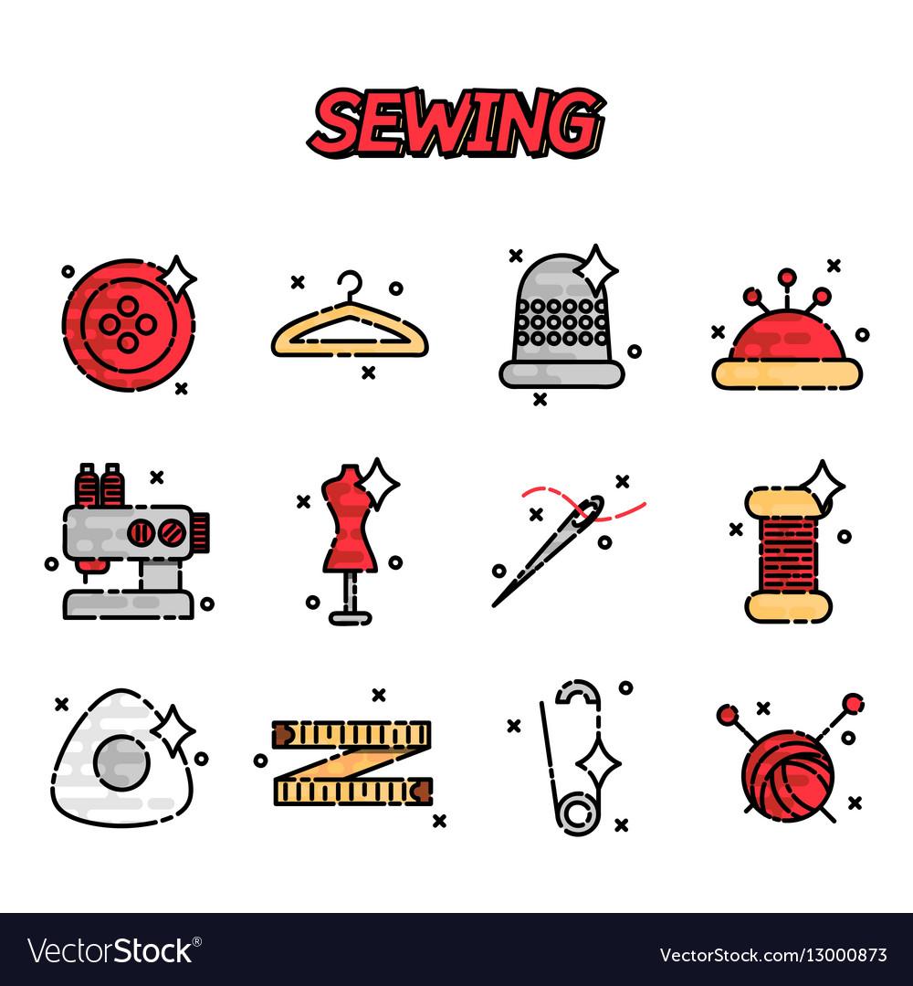 Sewing flat icons set