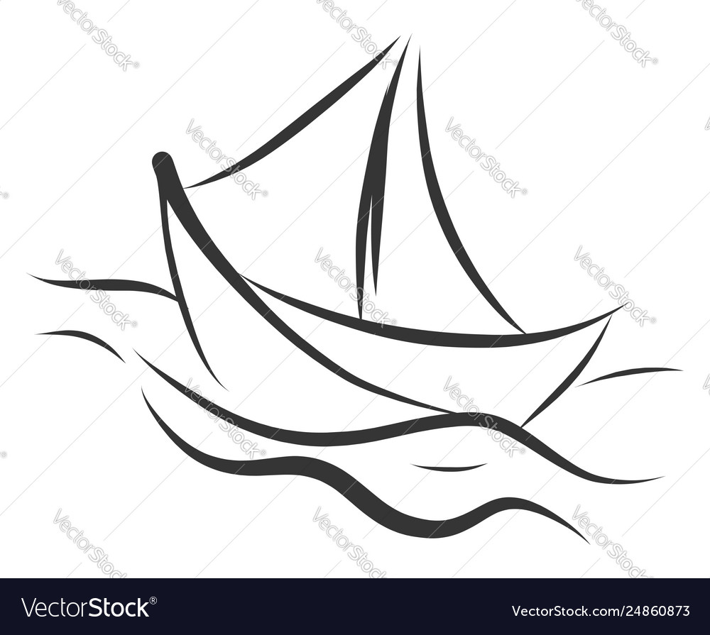 Simple black and white tattoo sketch a ship on