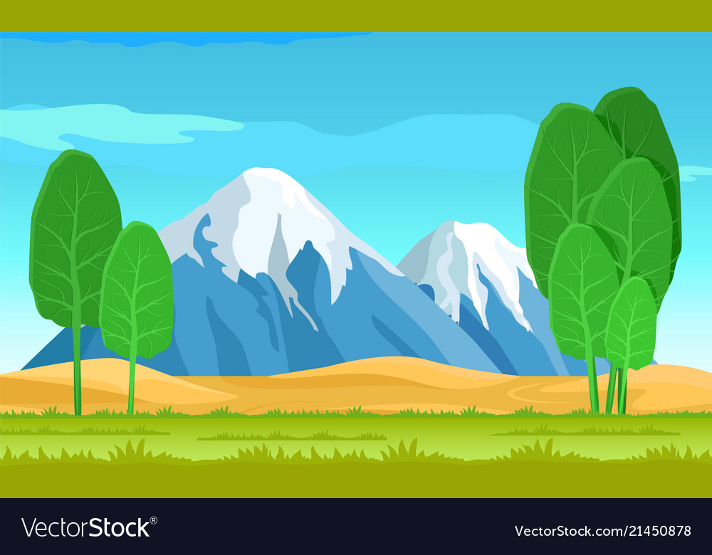 Abstract salad trees and cute mountains landscape