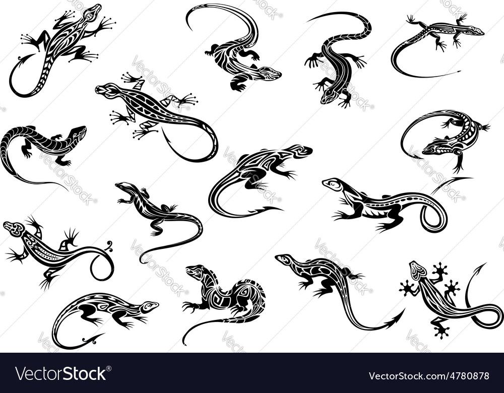 Black lizards reptiles for tattoo design vector image