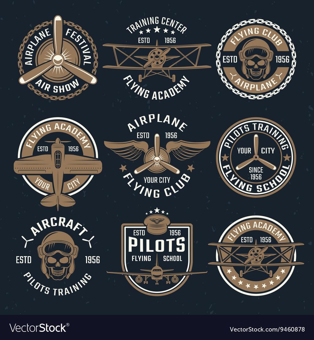 Brown Airplane Emblem Set