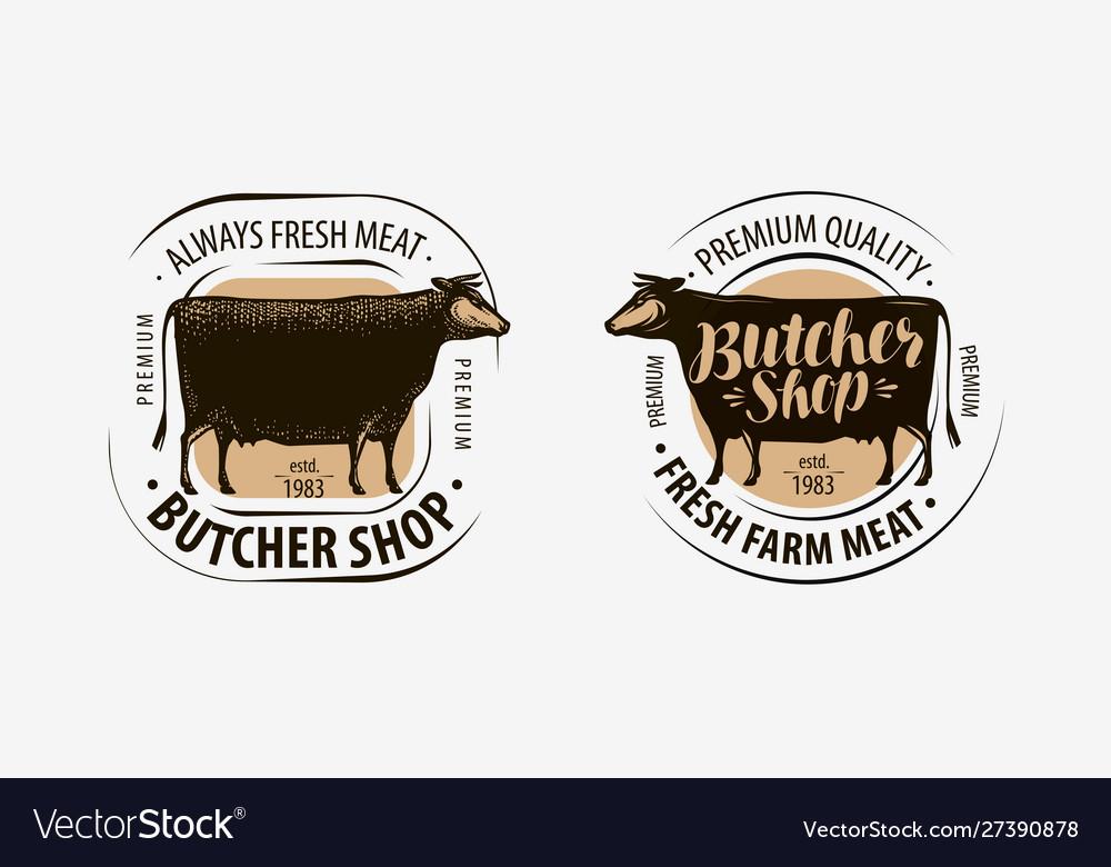 Butcher shop butcher logo cow beef label