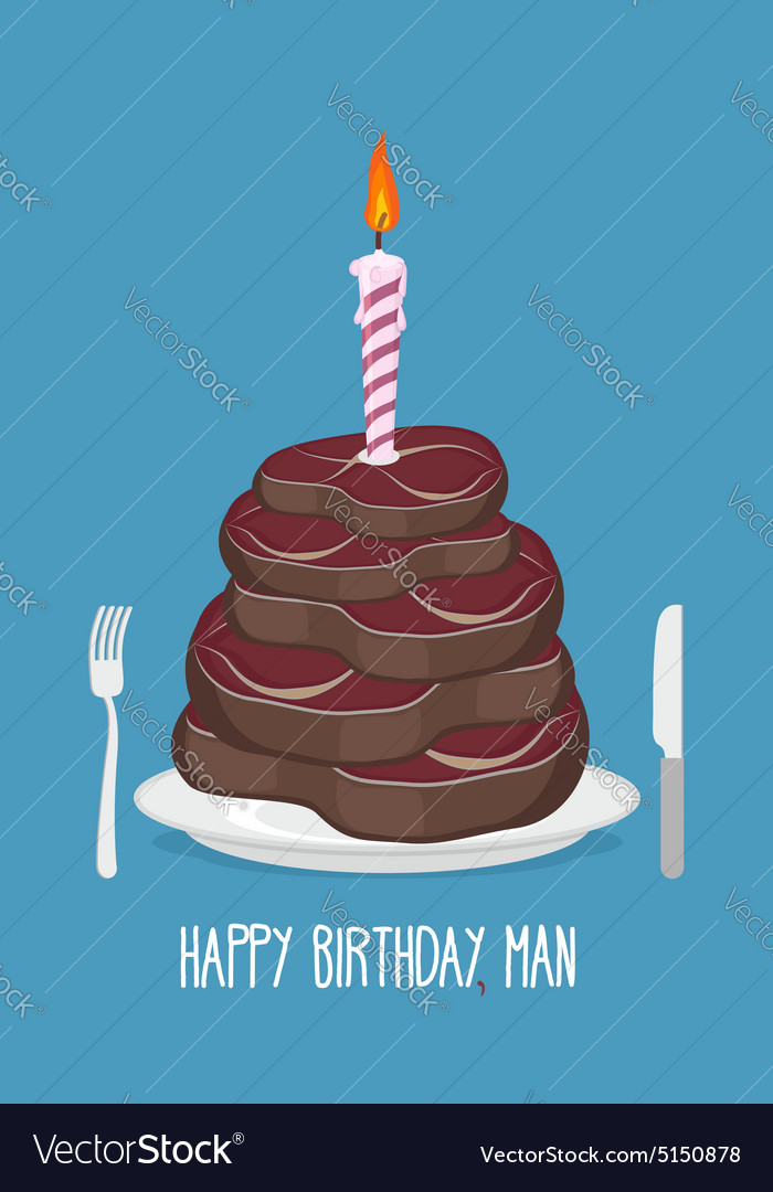 Brilliant Cake Cuts Of Meat Happy Birthday Man Delicious Vector Image Birthday Cards Printable Giouspongecafe Filternl