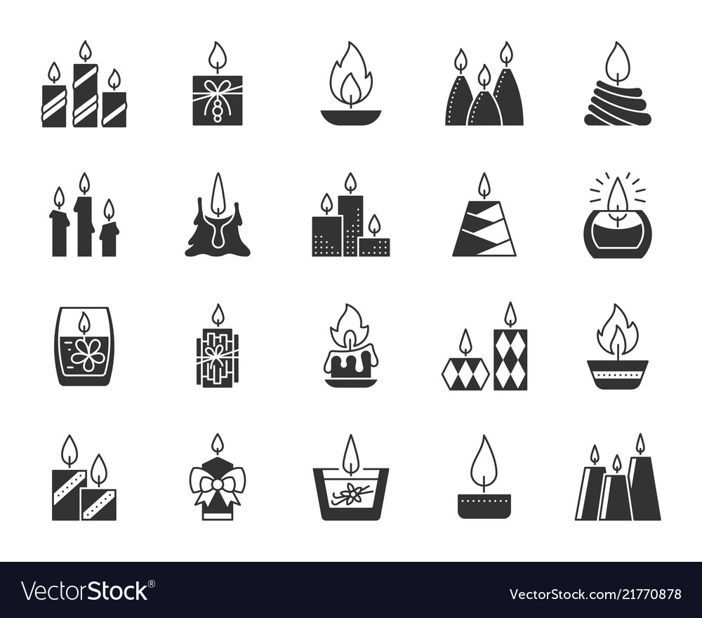 Candle black silhouette icons set