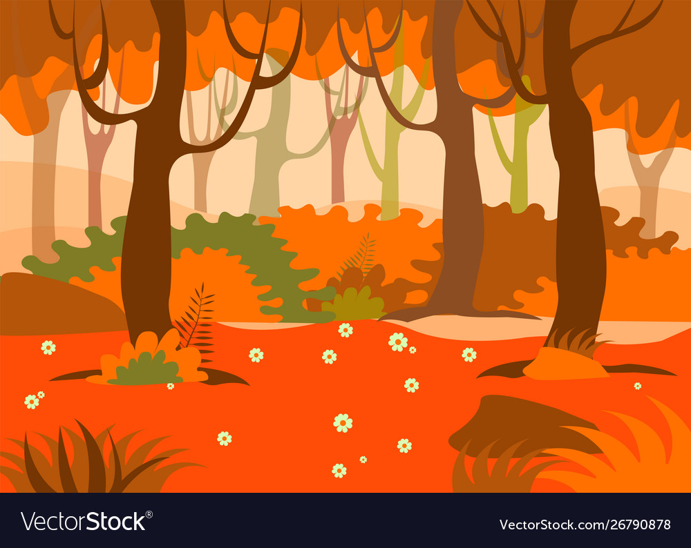 Cartoon background colorful forest in autumn