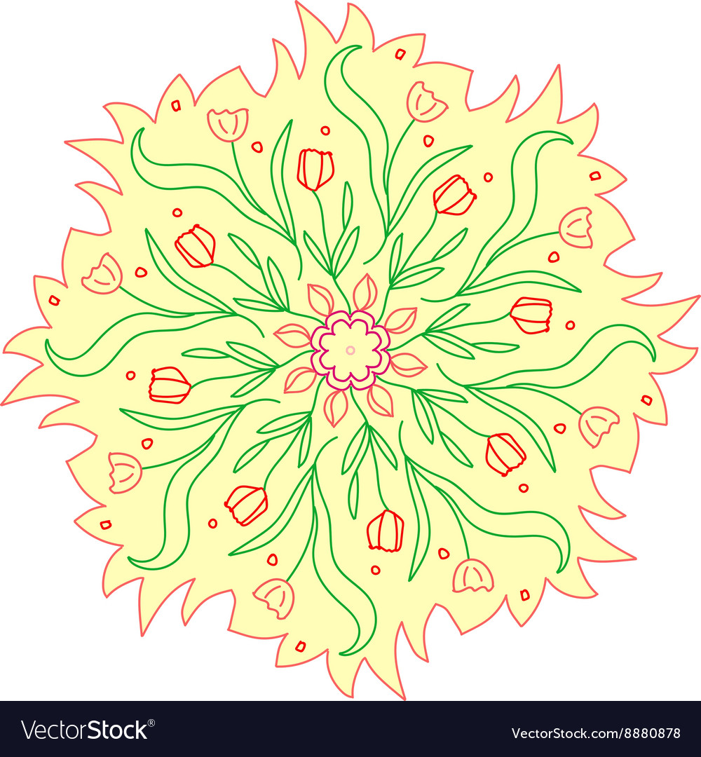 Colorful romantic round pattern with flowers