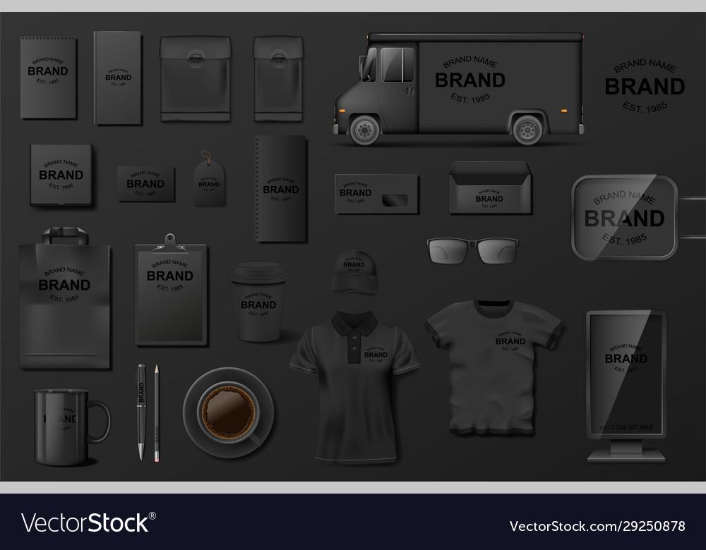 Corporate branding identity template black