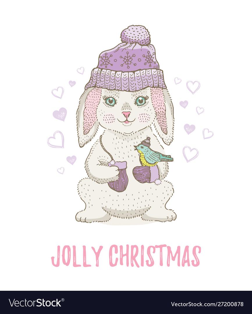 Cute christmas rabbit with bird winter animal