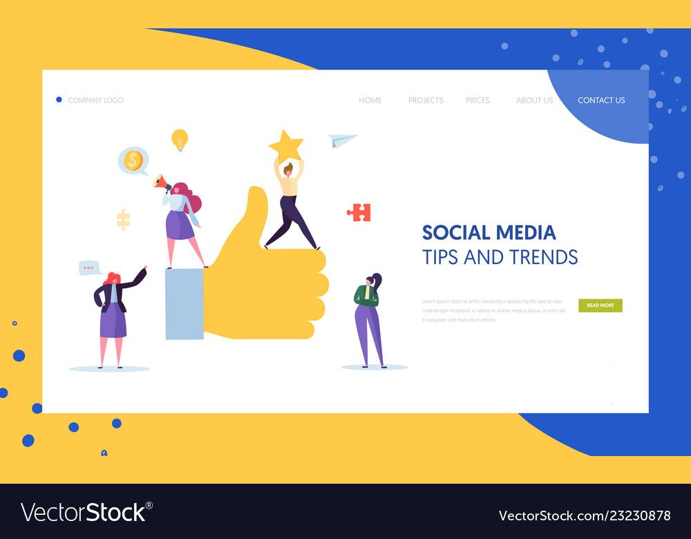 Digital social marketing character landing page