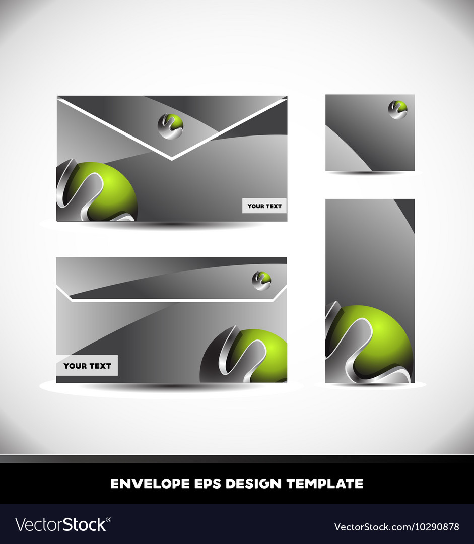 Green Metal Sphere Envelope Design Template Vector Image