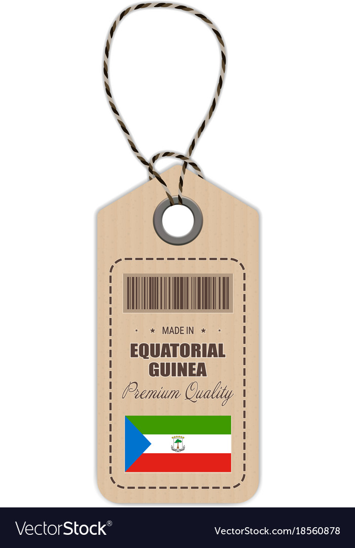 Hang tag made in equatorial guinea with flag icon