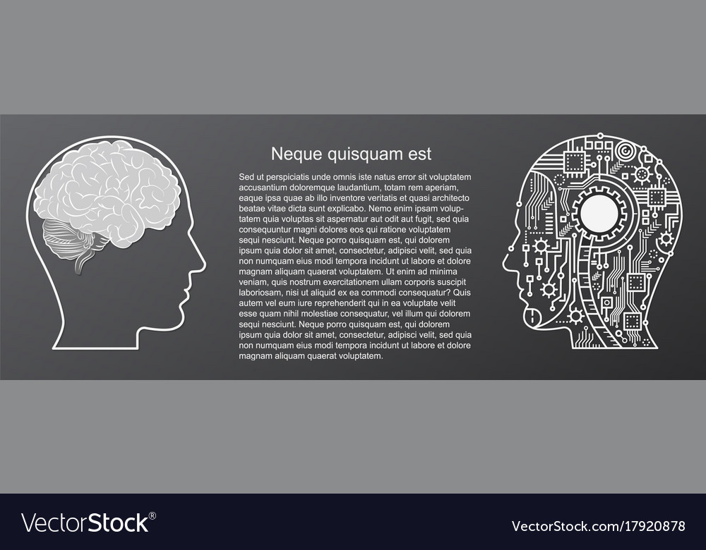 Human brain mind head with artificial intelligence