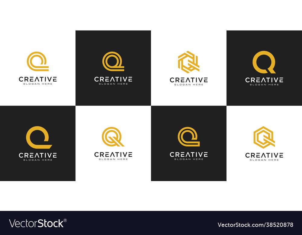 Set initial letter q logo design