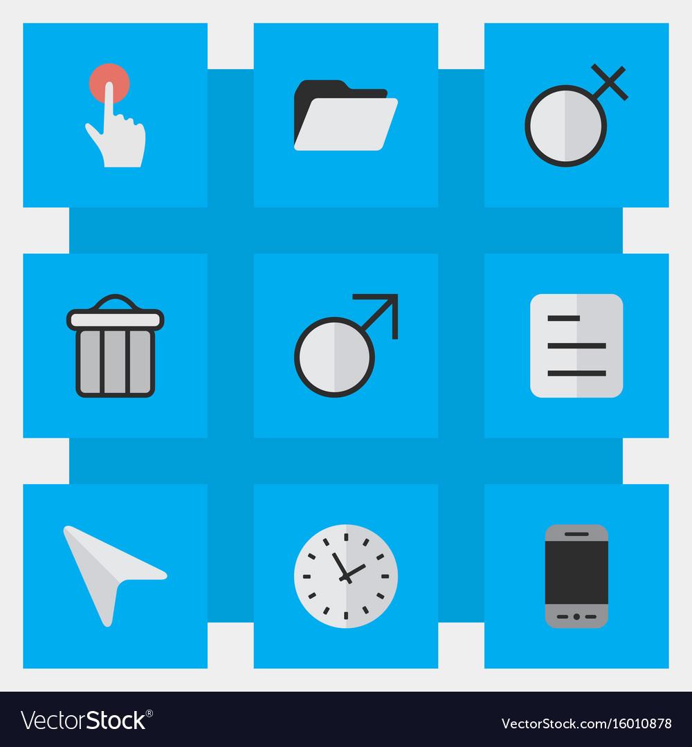 Set of simple menu icons elements female mars sign