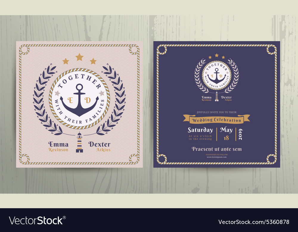 Vintage nautical wreath and rope frame wedding vector image
