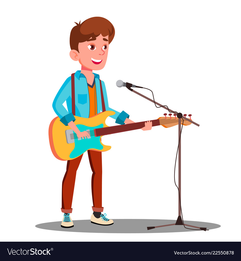 Young handsome guy singing into microphone on