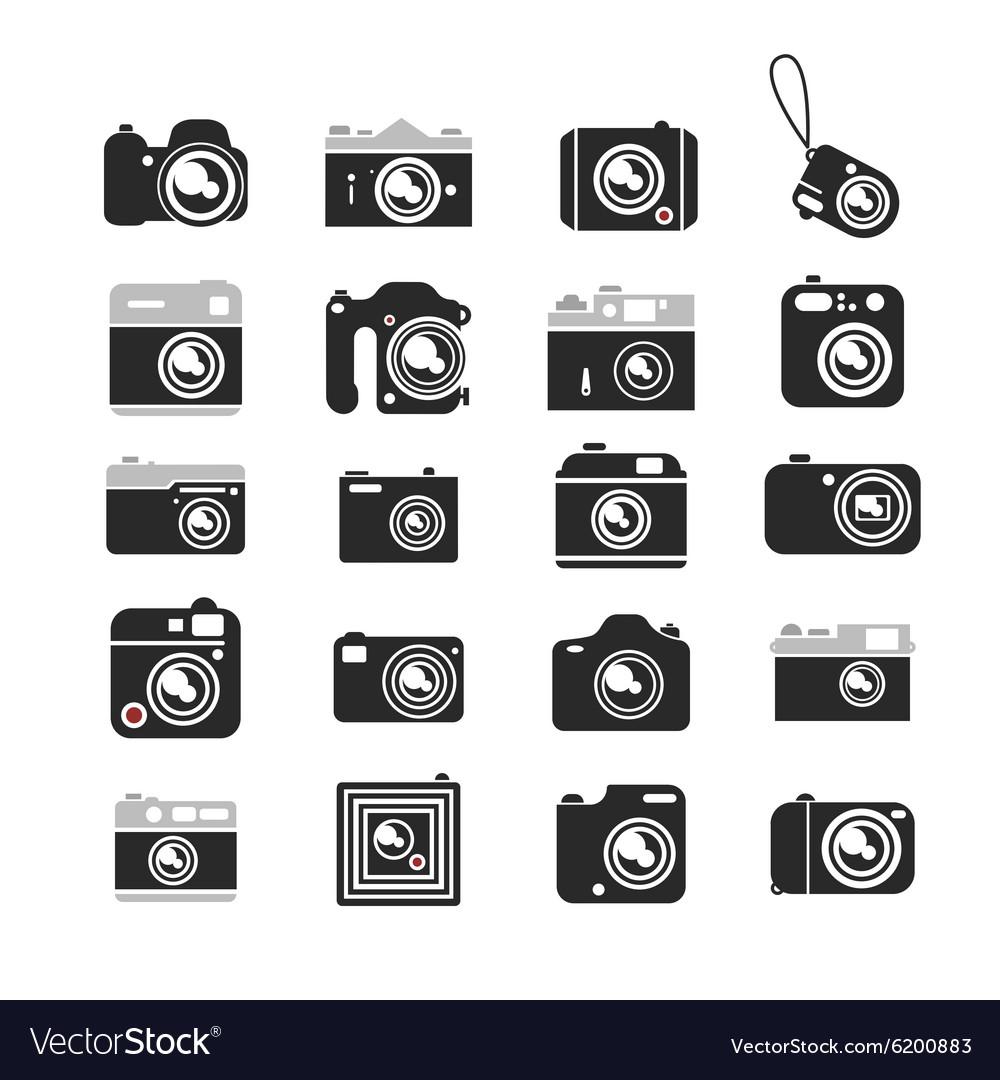 Cameras icons set