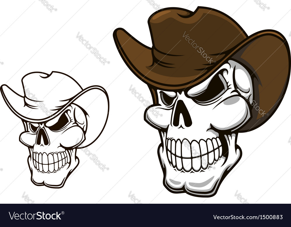 Cowboy skull in hat vector image