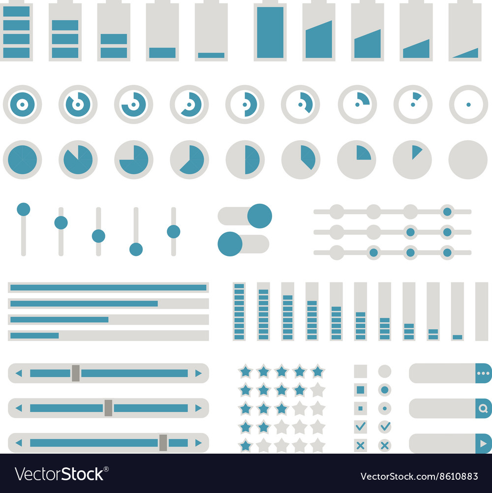 Different interface controls design elements Flat vector image