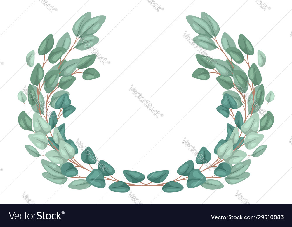 Frame with flat hand drawn eucalyptus populus and