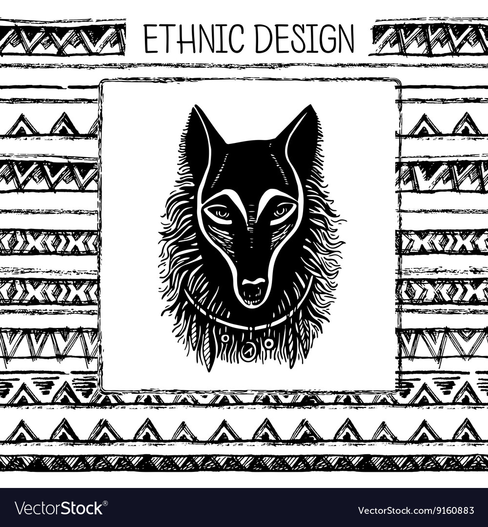 Pattern with wolf face Black and white colors