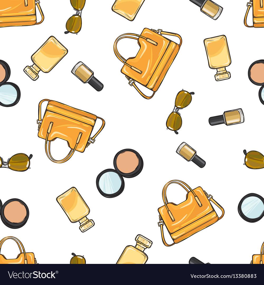 Set of accessories purse nail polish powder