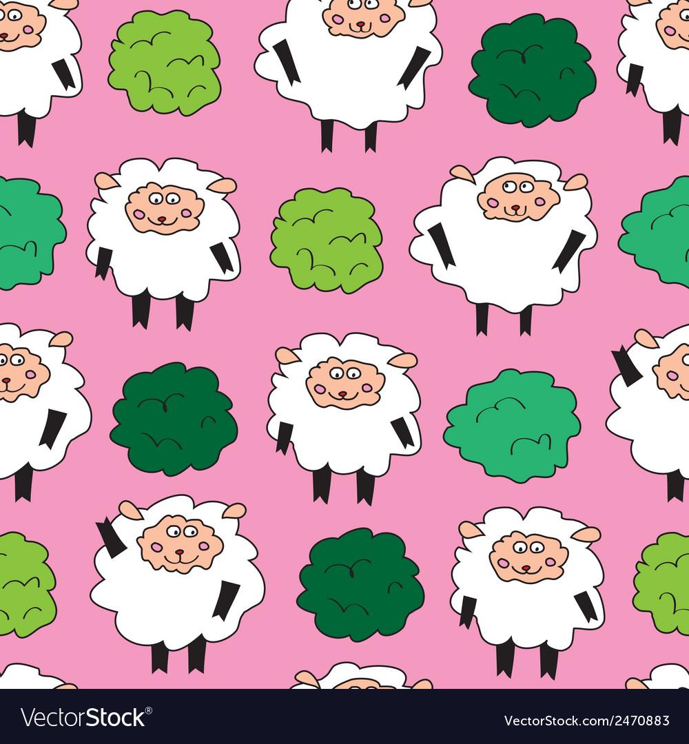 Sheep and shrubs Seamless pattern