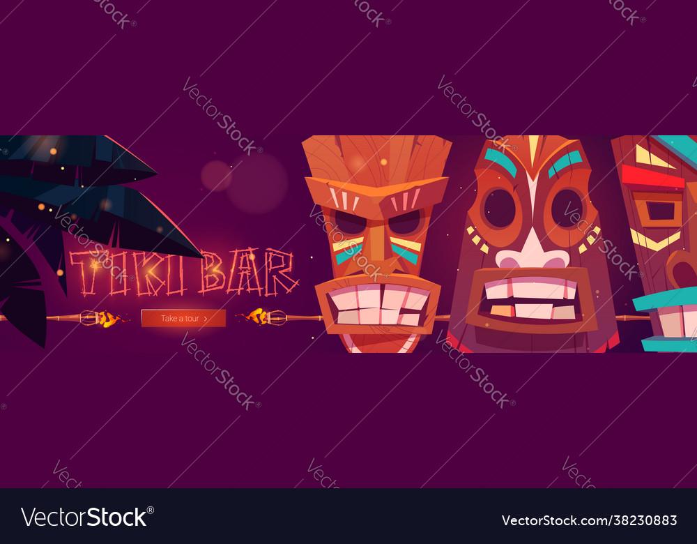Tiki bar cartoon web banner with tribal masks