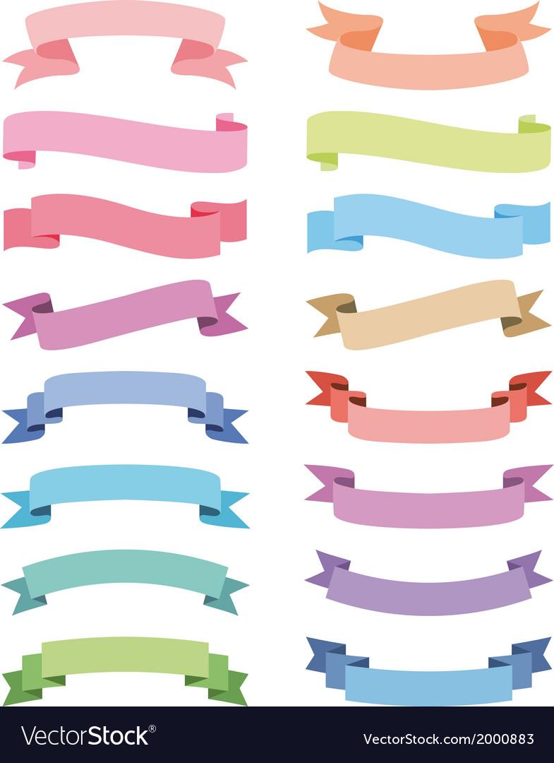 Various ribbons set design elements