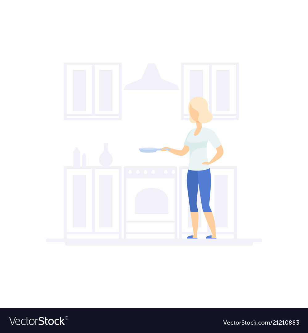 Young blonde woman cooking in the kitchen family Vector Image