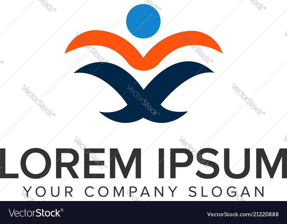 Abstract people read book logo design concept