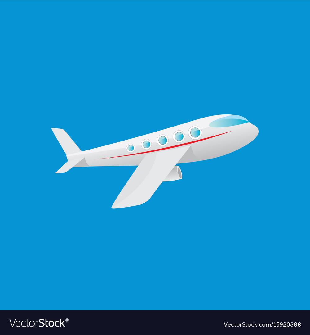 Cartoon Airplane Flying In Blue Sky Royalty Free Vector