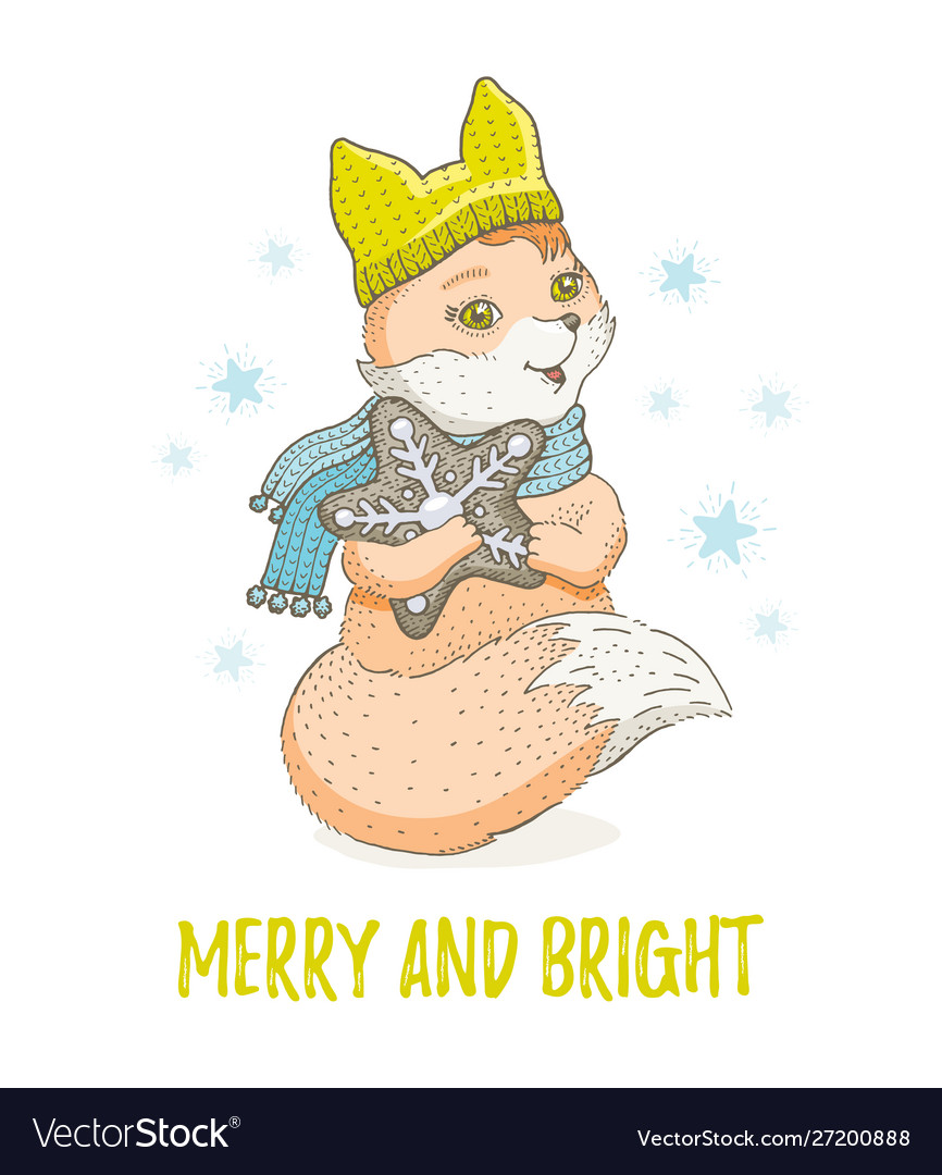 Cute christmas animal forest fox merry xmas