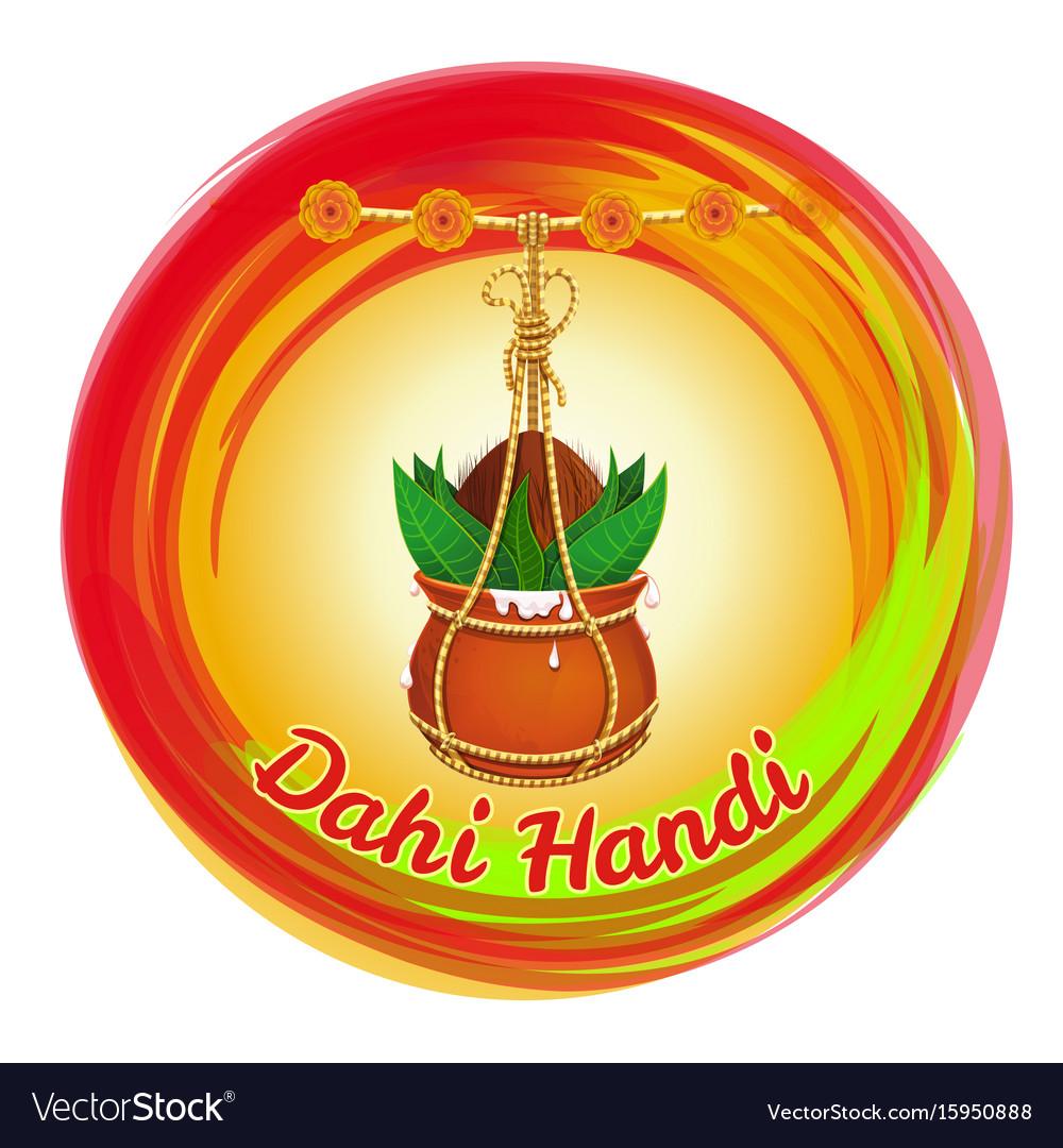 Dahi handi earthen pot with makhan and coconut