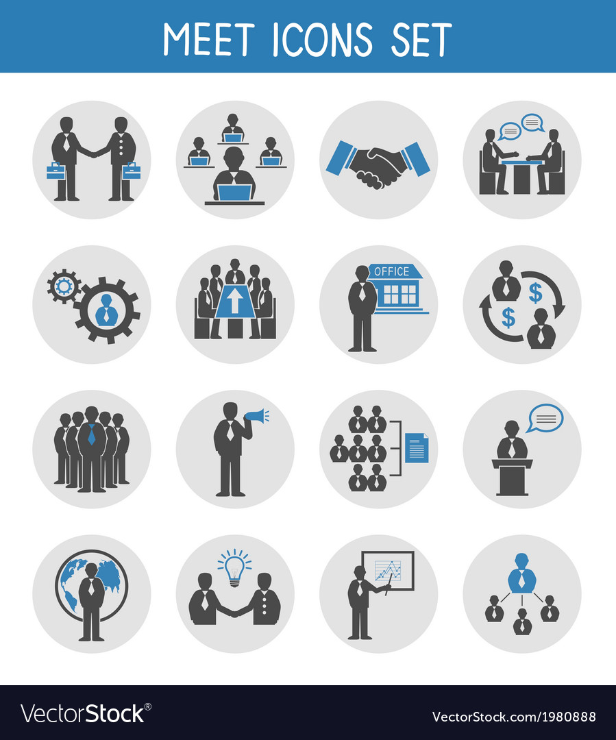 Flat business people meeting icons set vector image