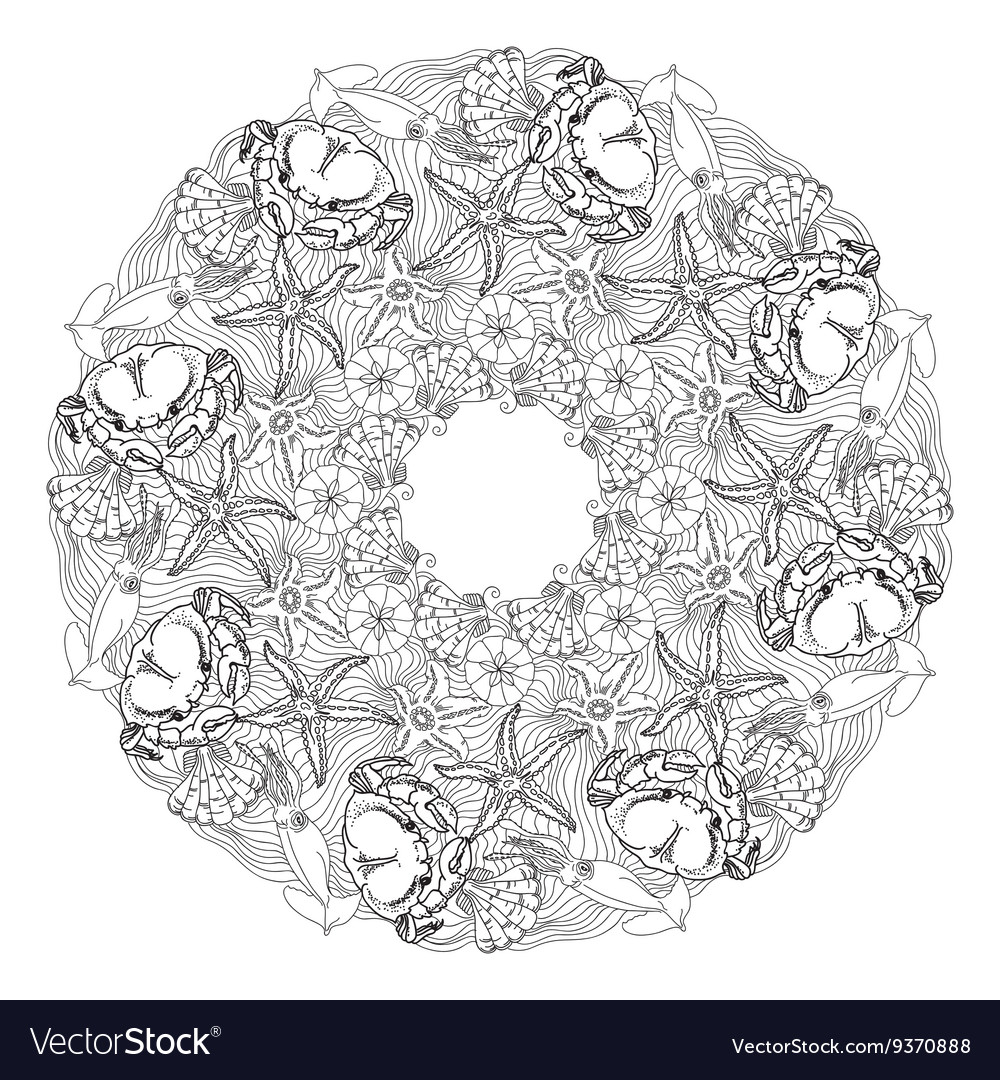 Hand drawn ornamental mandala sea themed vector image