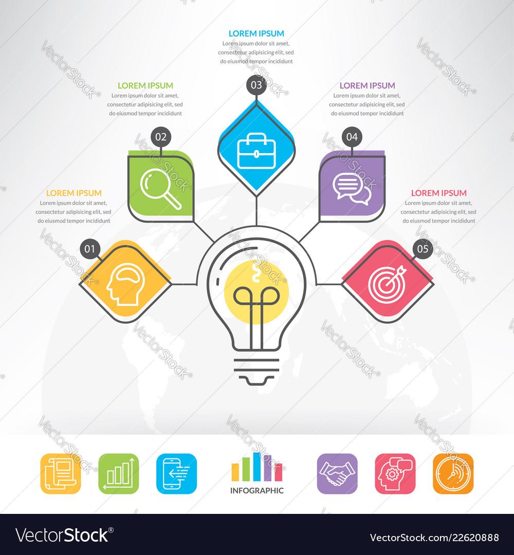Idea light bulb circle infographic template
