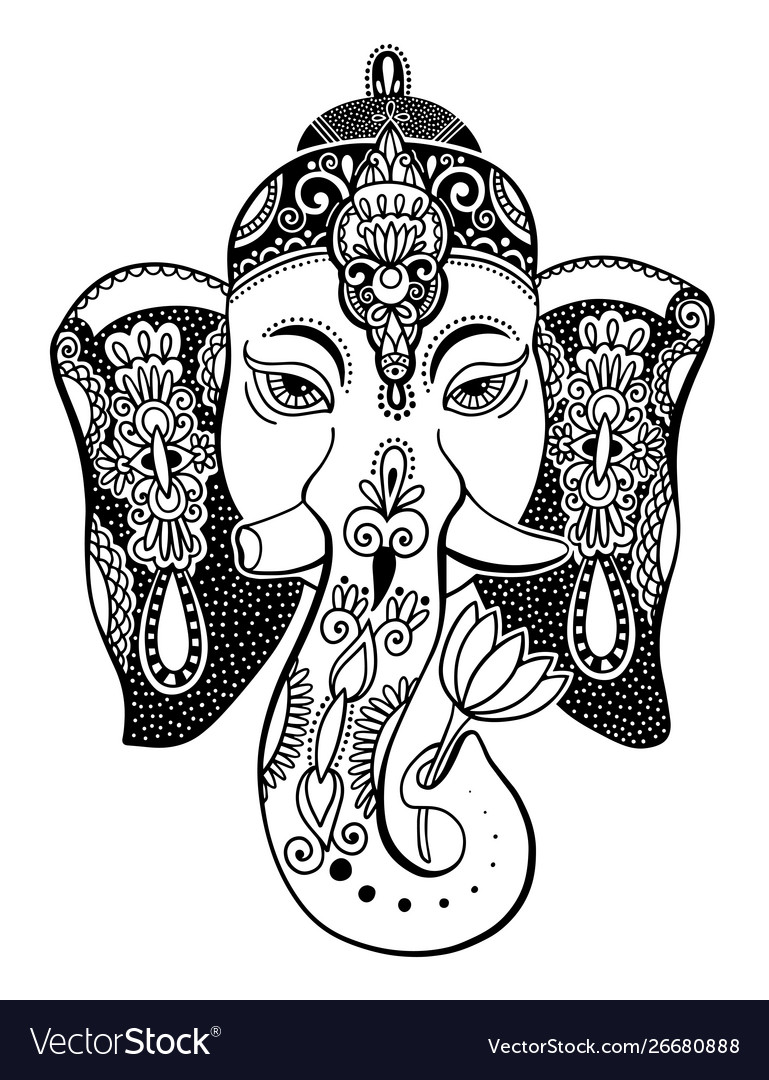 Lord ganesha head with lotus drawing - indian