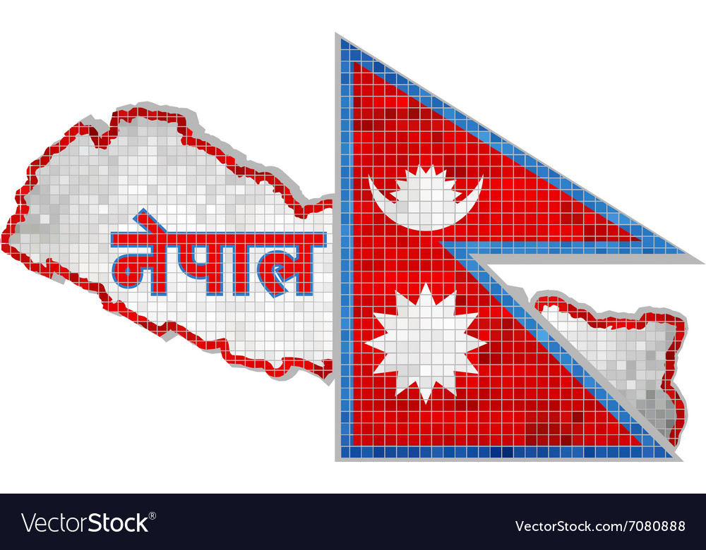 Nepal map with flag inside