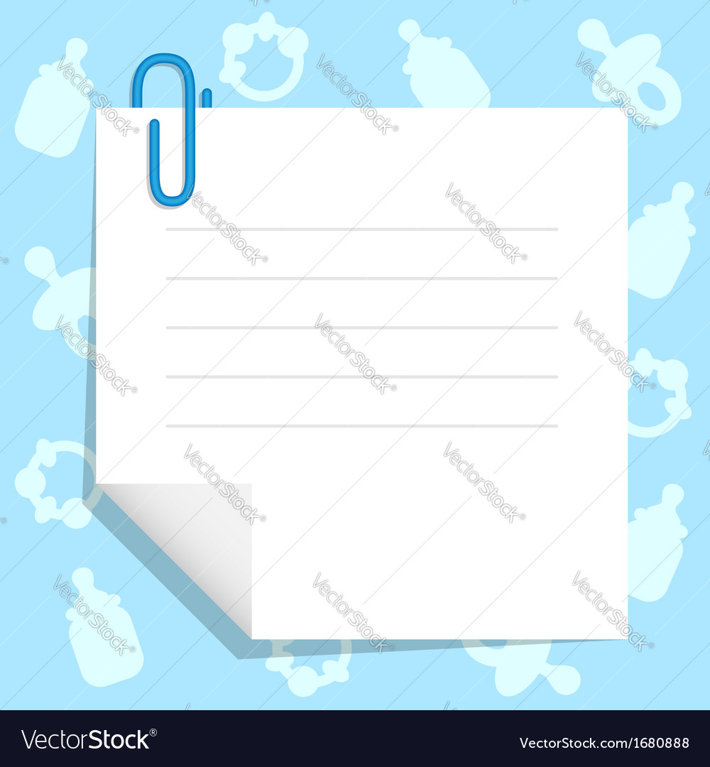 Paper sheet with babys goods vector image