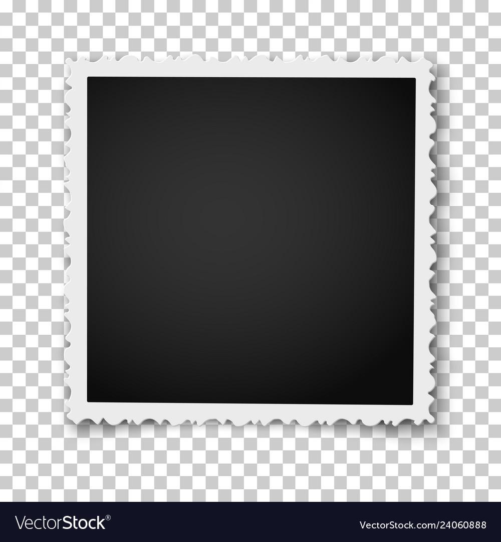 Retro square photo frame with figured edges