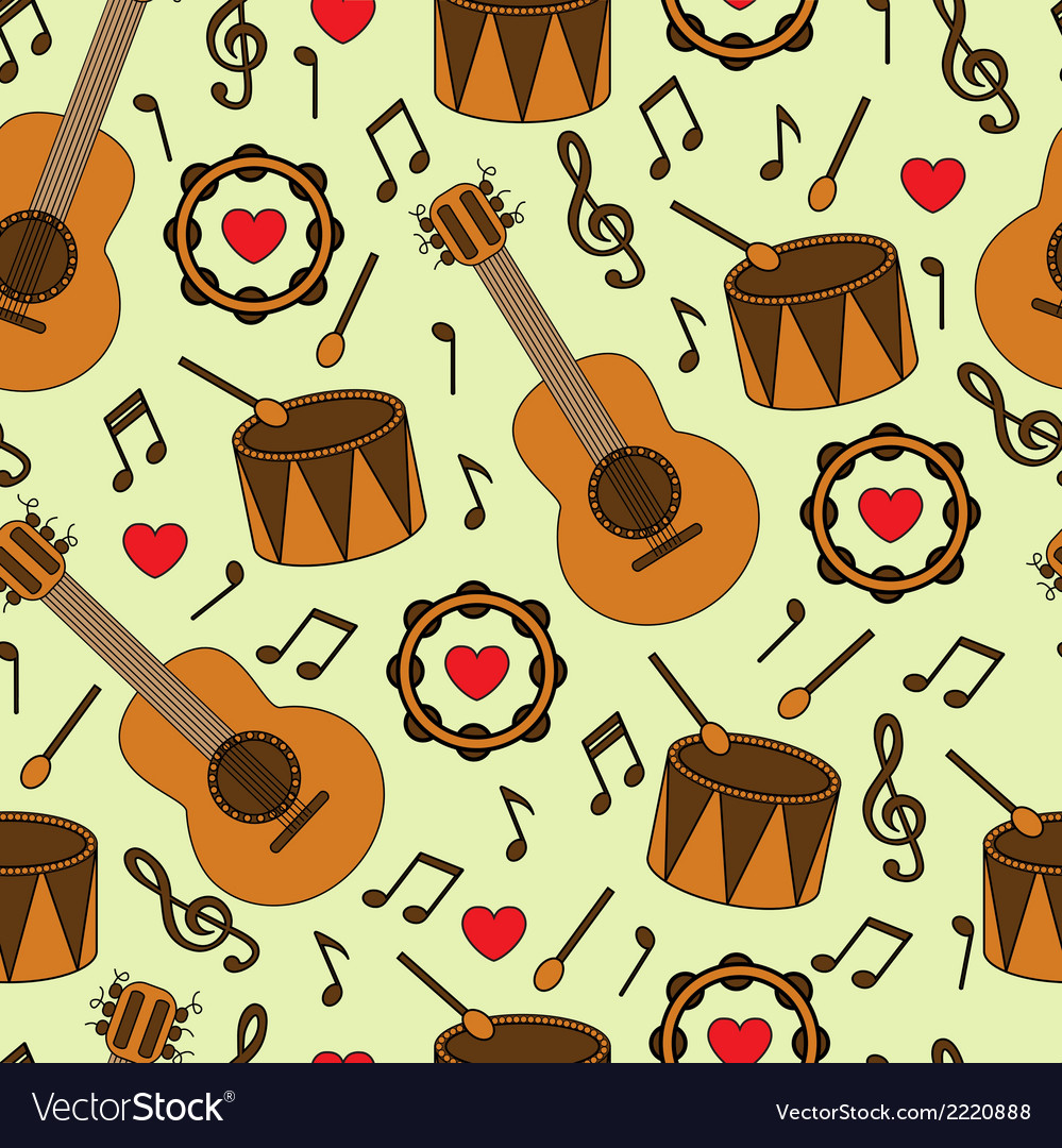 Seamless background with musical instruments