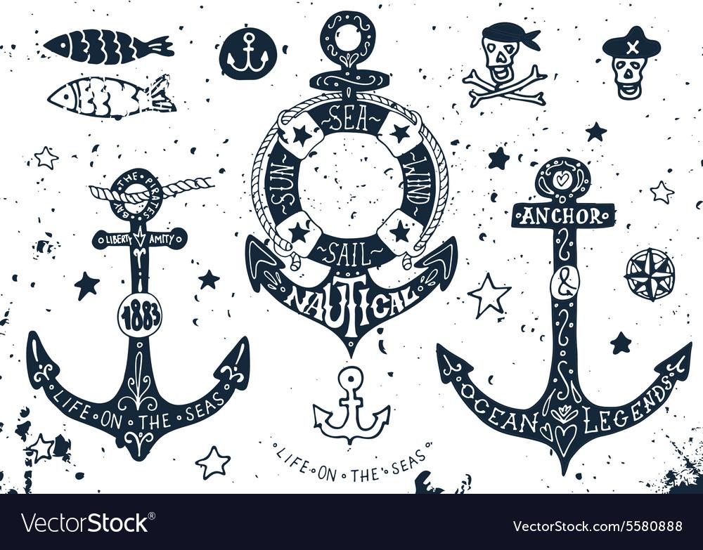 Set of hand drawn anchors