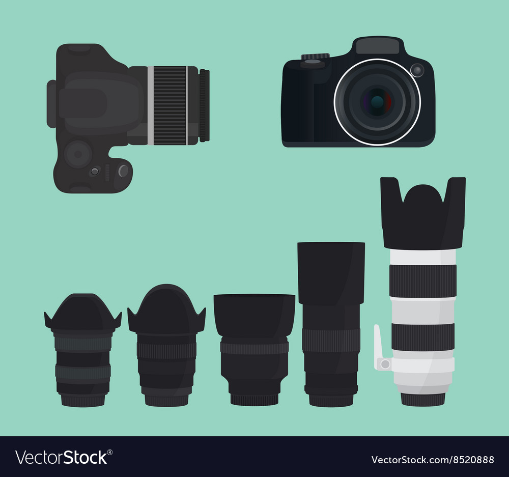 Slr dslr camera collection with lens