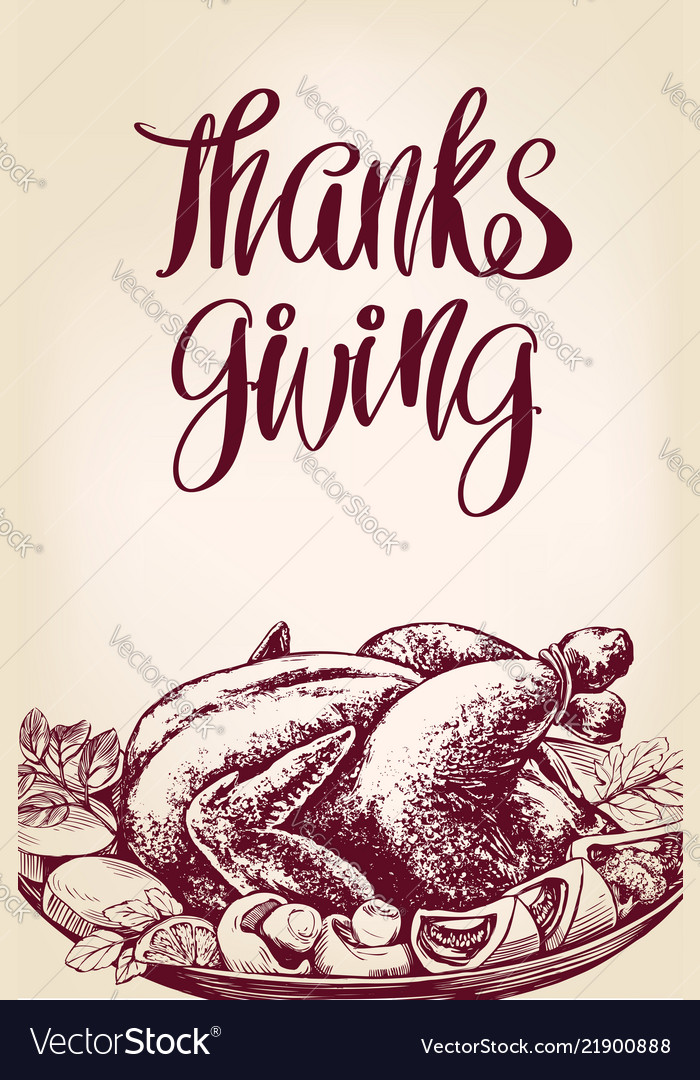 Thanksgiving day holiday poster roasted turkey