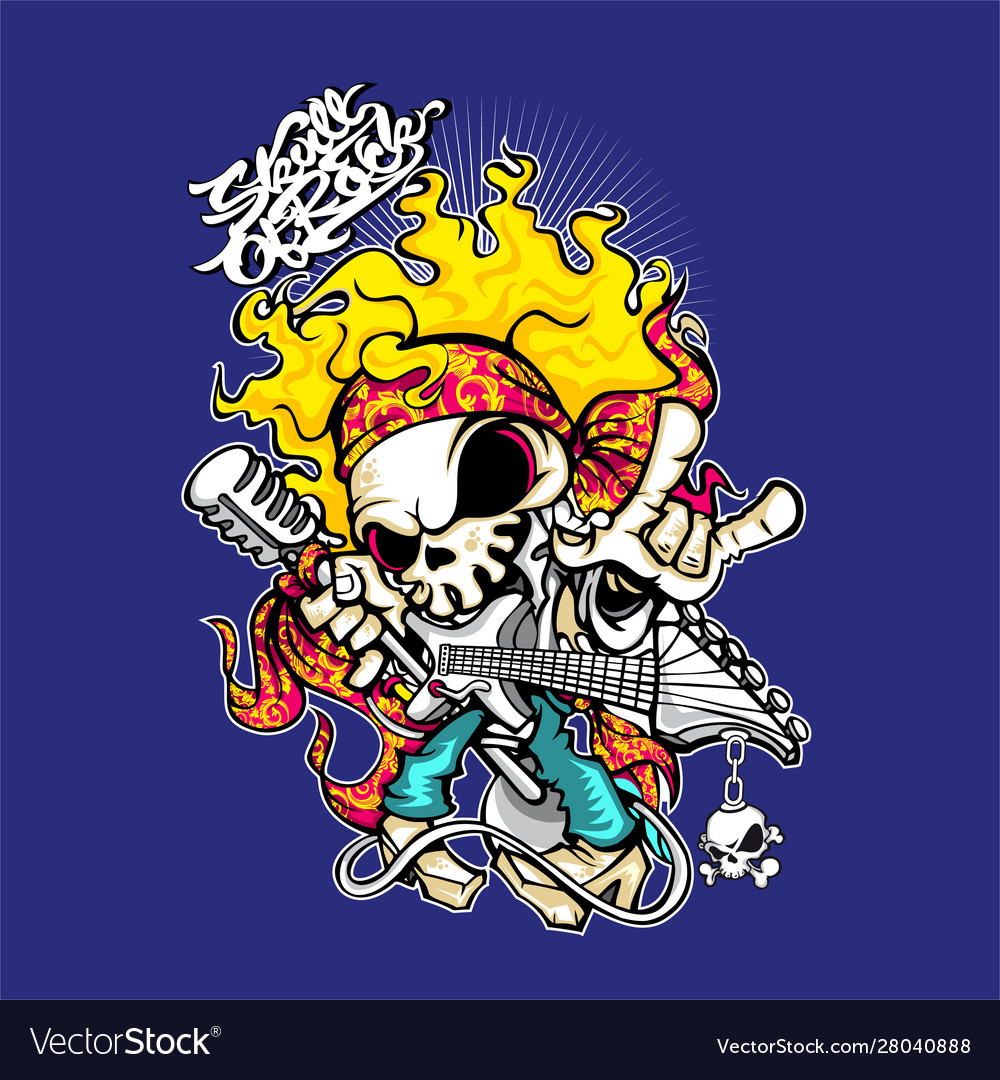 The skeleton is playing rock music