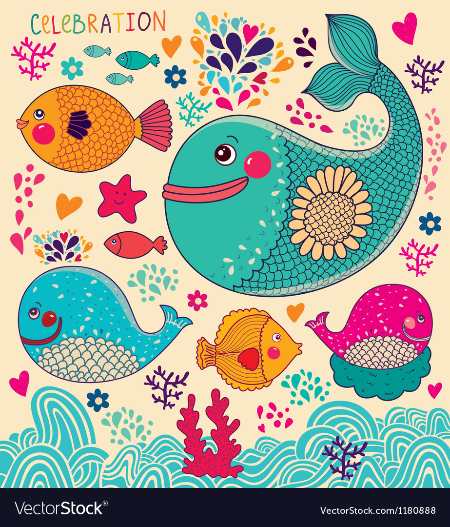 Whales and fish vector image