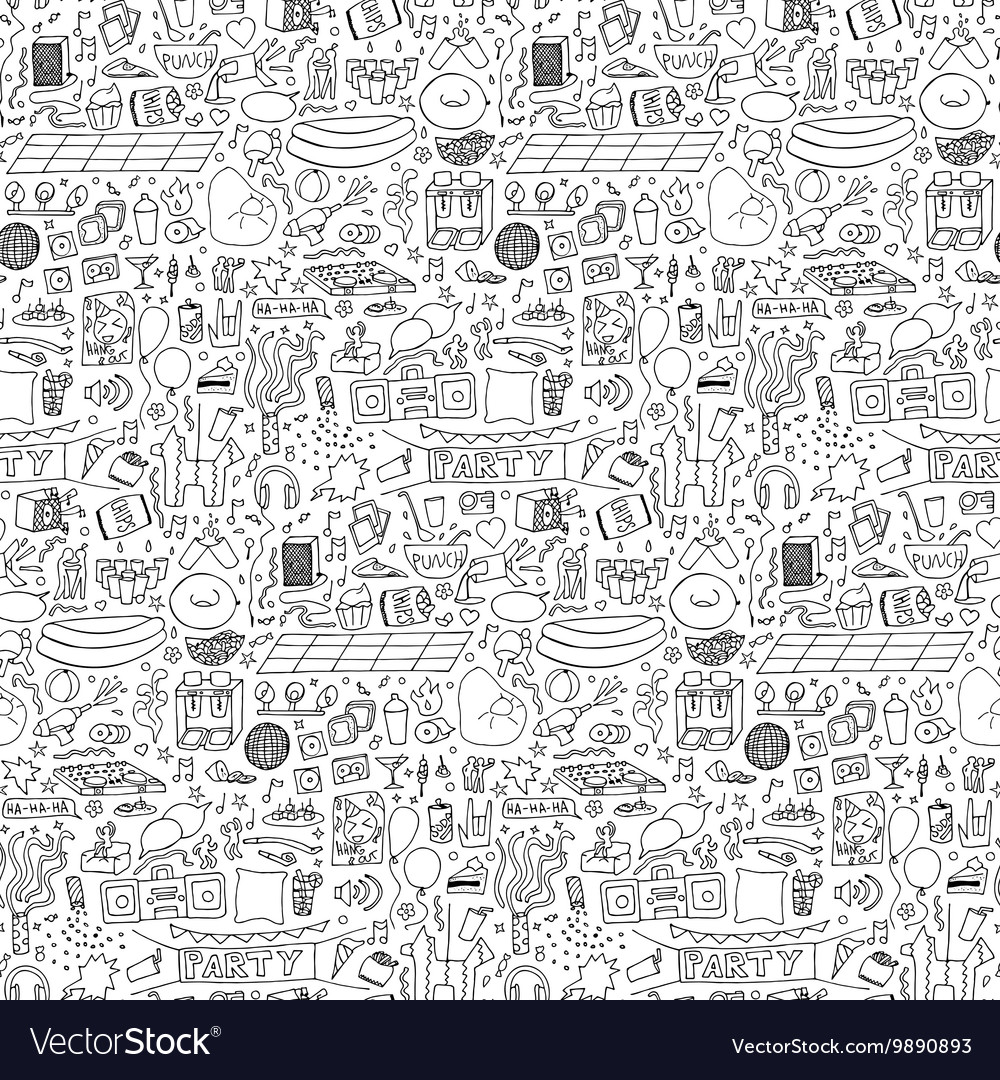 Adult Party Doodle Seamless Pattern