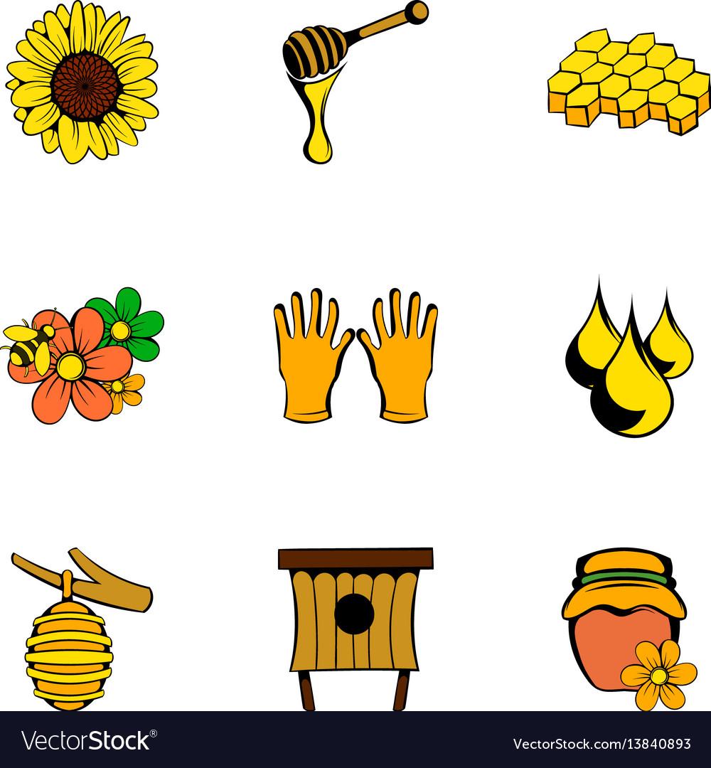 Beekeeper icons set cartoon style