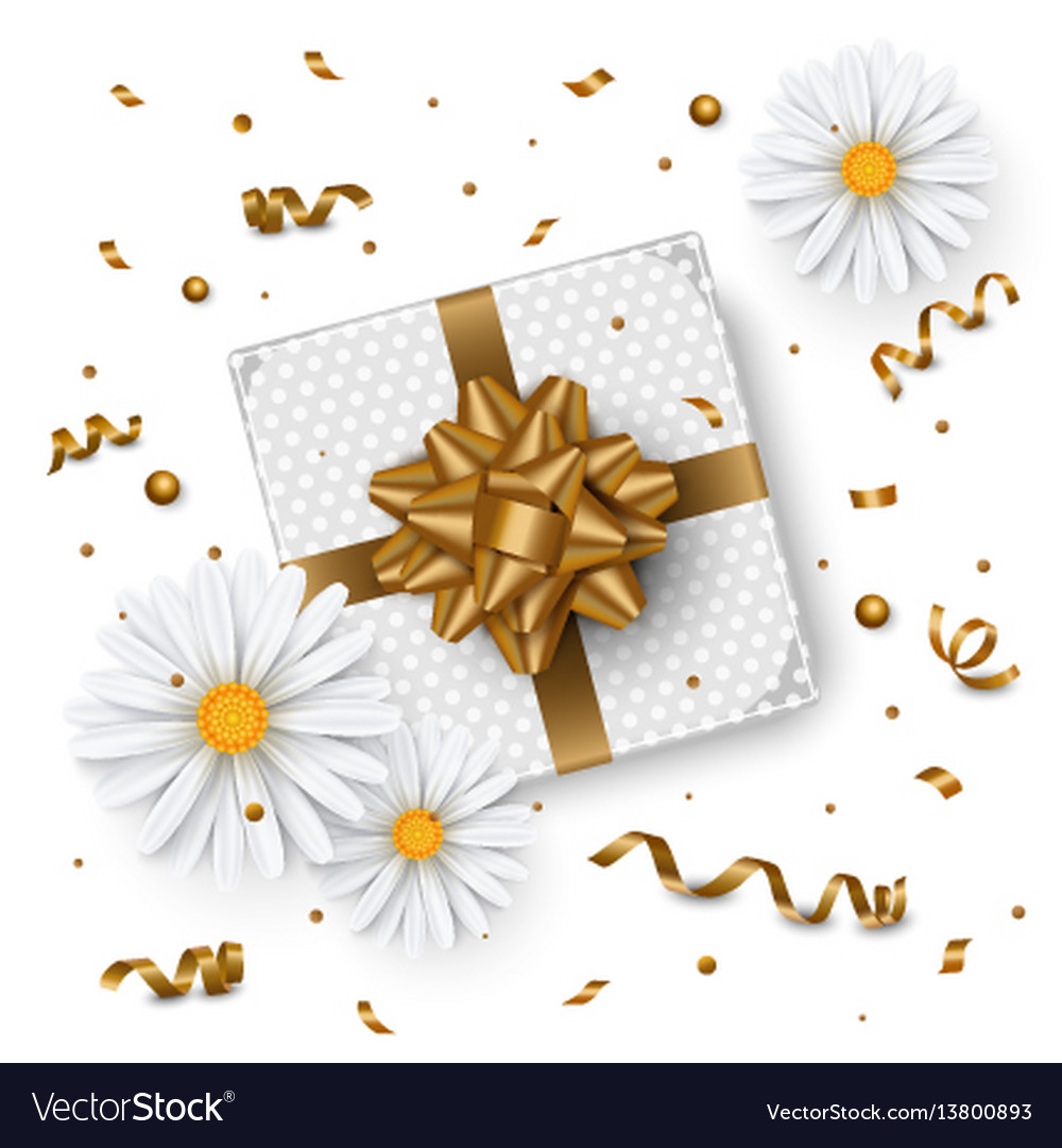 Birthday background chamomile flower gift box